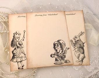 Alice in Wonderland Stationery Set Note Cards Rabbit Mad Hatter Letter Writing Flat Cards Set of 6