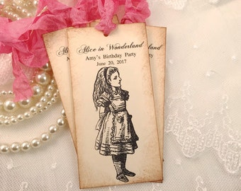 Personalized Alice Tags Wonderland Assorted Set of 10