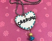 CABRONA Stamped Ceramic Necklace