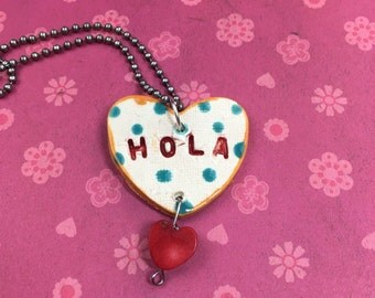HOLA Stamped Ceramic Necklace