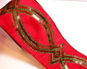 Christmas Ribbon, Lion Brand Red and Green Sequin Wired Fabric Ribbon 4 inches wide x 10 yards, Full Bolt of Goddess Ribbon