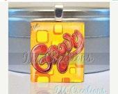 60% OFF CLEARANCE Scrabble tile pendant wearable art - retro Groovy (WRD306)
