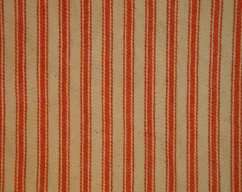 Coffee Dyed Ticking Stripe Material | Orange Ticking Material Coffee Dyed  |Primtive Orange Ticking Material | 36 x 42