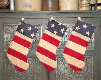Flag Inspired Stocking | Americana Stocking | Old Glory Stocking | Christmas Stocking | Red White And Blue Stocking | 1 Stocking
