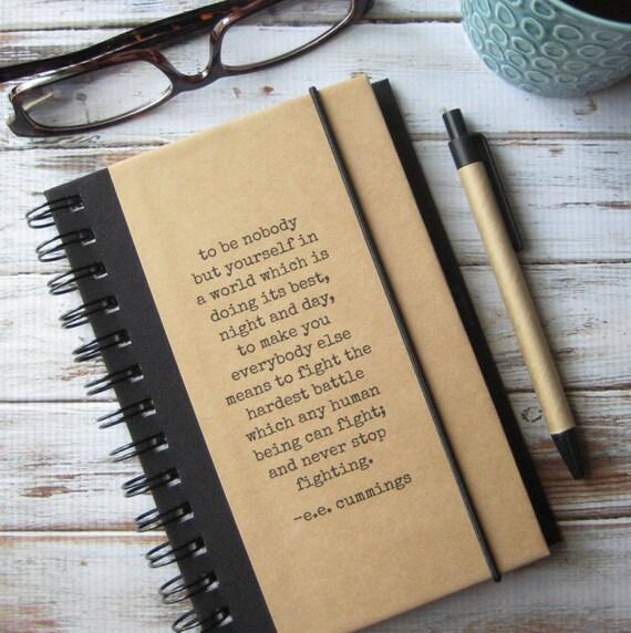 Writing Journal, Inspirational Gift, Writer Gift, Notebook, ee cummings