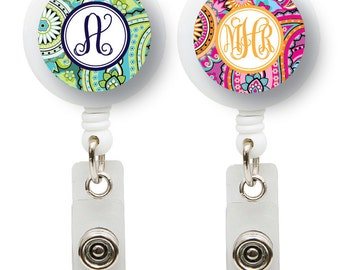 Monogrammed ID Badge reel, personalized, badge clip, Paisley Pattern, monogrammed 2 pattern choices