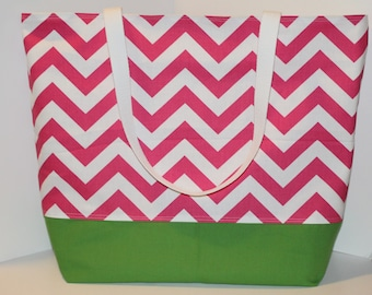 Large Chevron Beach Bag . Pink and Grass Green or DESIGN Your OWN . Teacher tote bag . bridesmaid gift Monogramming Available