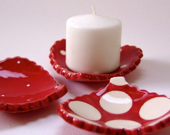 Red Hot pottery Heart Dishes -- 3 piece set -- polka-dot ceramic ring dish, candleholder, soap dish, for mom or sweetheart