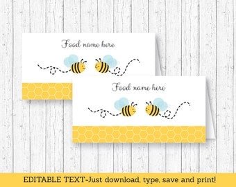 Bumble Bee Buffet Cards / Bumble Bee Tent Cards / Food Labels / Place Cards / Bee Baby Shower / INSTANT DOWNLOAD Editable PDF