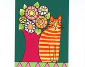 Whimsical Cat Art Print/ Orange Ginger Tabby with Garden Flowers by Susan Faye
