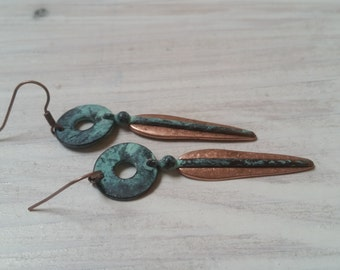 Patinaed Green and Copper Earrings