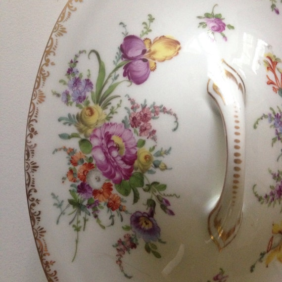 19th c. Vegetable Server Hand Painted Dresden Porcelain - Germany