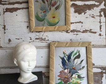 Vintage Floral Still Life Paintings on Silver Metallic - Textured Gesso Frames - 8 x 10 - Pair