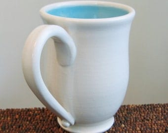 Coffee Mug 14 oz. Stoneware Ceramic Handmade Pottery Mug Blue Coffee Cup in Lagoon