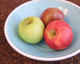 Pottery Bowl, Serving Bowl, Stoneware Ceramic Fruit Bowl in Lagoon Blue - Wedding Gift