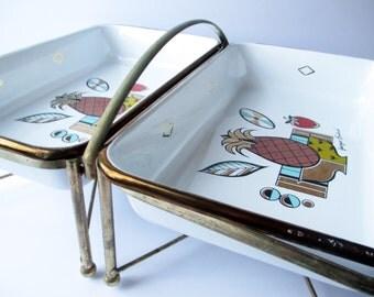 Vintage Georges Briard Ambrosia Enamel Double Chafing Dish - Retro