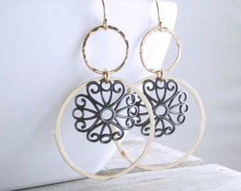 Black And Gold Circle Earrings Floral Hoop Earrings Boho Gold Earrings Trendy Mixed Metal Earrings Gift For Her Holiday Gift Fall Fashion