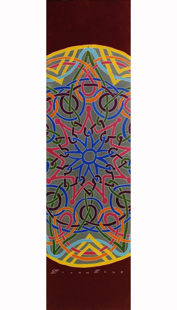 Colorful Celtic mandala hand painted silk scarf