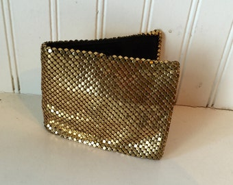 1940s Whiting Davis gold mesh wallet - signed