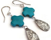 ON SALE Turquoise Cross and Silver Teardrop Earrings Handmade