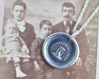 hourglass wax seal necklace pendant … attend to time - French motto - flight of time - inspirational gift - silver antique wax seal jewelry