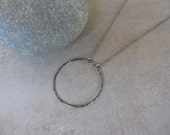 Oxidized Large Silver Circle Necklace, Circle Silver Necklace, Circle Pendant Necklace, Sterling Silver Circle Necklace