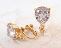 Gold Plated Clipon Converter with Pear Shaped Cubic Zirconia Comfortable Adjustable Screw Back with Hinge