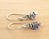 Iolite Gemstone Earrings, Sterling Silver, Violet Blue Earrings, Rustic Earrings, Faceted Beads, #4587