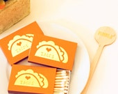 Gold Foil Matches - Love Tacos - Heart Taco - Foil Stamped - Orange Matches - Set of 3 - Hostess Gift - Party Favor -