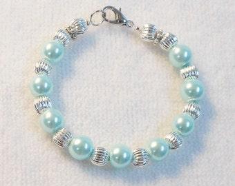 Girl's Bracelet - Child's Bracelet - Beaded Bracelet For Girls - Light Mint Bracelet - Flower Girl Bracelet