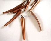 10 Antique Copper Curved Spike Charm Smooth Dagger Drop 22x3mm Plated Brass - 10 pc - 6355-13