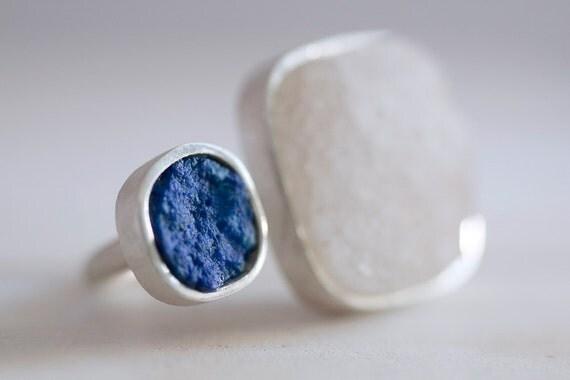 Gretel ring. Sterling silver ring with Lapis lazuli and drusy Quartz. Druzy Quartz ring, raw Lapis lazuli ring, two stone ring, statement.