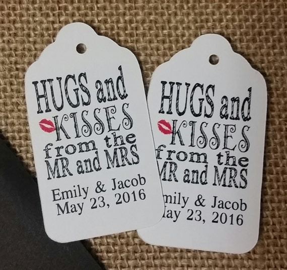 Hugs and Kisses from the Mr and Mrs MEDIUM Personalized Wedding Favor Tag CHOOSE your amount