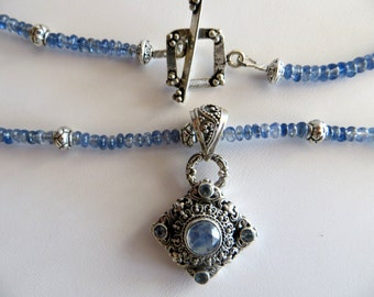 Kyanite Necklace With Moonstone & Sterling Pendant