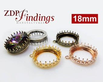 4pcs x Round 18mm Quality Cast Crown Bezel Tray Setting Pendant fit Swarovski Rivoli 1122 crystals DIY, Choose your Finish (L1RD18Pv)