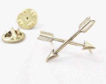 Golden Bronze Crossed Arrow Tack Pin of Friendship
