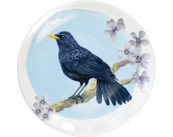 Porcelain wall plate with the bird illustration - Blue Whistling Thrush- made to order