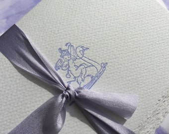 6 Blue Cherub and Swan Letterpress Cards with Envelopes