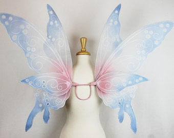 Fairy Wings in Pale Grey, Pink, and Blue, Adult sized, Handmade, Perfect for costume, fairy photography, cosplay, Halloween, festival