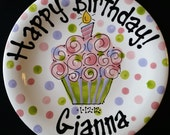 Hand Painted Coupe Pastel Birthday or Special Day Plate