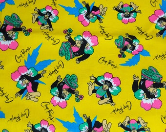 RESERVED vintage 80s novelty fabric, featuring great Chimp Pansy's monkey and flower print, 1 yard, 32 inches