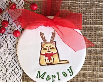 Kitty Reindeer Christmas Ornament, 2016 Christmas Ornament Personalized Christmas Ornament, Cat Ornament, Pet Ornament, Christmas Decoration
