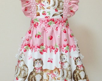 Apron / Full Apron / Lolita Apron / Dress Apron - Cat Berry