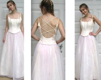ivory vintage gown . cream princess gown . vintage wedding gown . blush evening gown . cinderella gown . boned bust gown