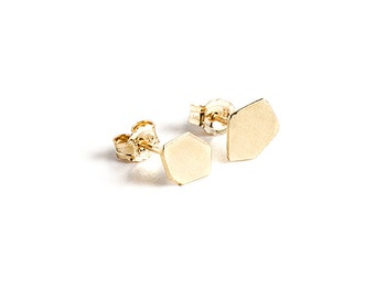 Tiny Gold Stud Earrings, Geometric Gold Stud Earrings, Gold Post Earrings, Gold Nugget Earrings, Minimalist Gold Earrings
