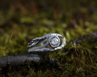 Twig Engagement Ring | Branch Ring | Moissanite | Sterling Silver |  Boho Engagement Ring | Twig Ring | Rustic | Moissanite Forever Classic
