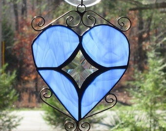 Stained Glass Suncatcher - Heart in Streaky Blue with Curly Cues