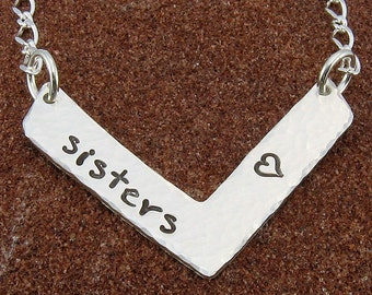 Sisters Necklace Hand Stamped Sterling Silver Chevron Jewelry