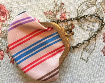 Doll Purse Tiny White Striped Brocade Ginny 1950's Pink and Blue