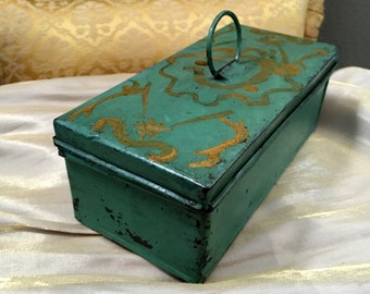 Antique Small Hand Made Tin Tool Carrier Tote Tool Box Painted Green